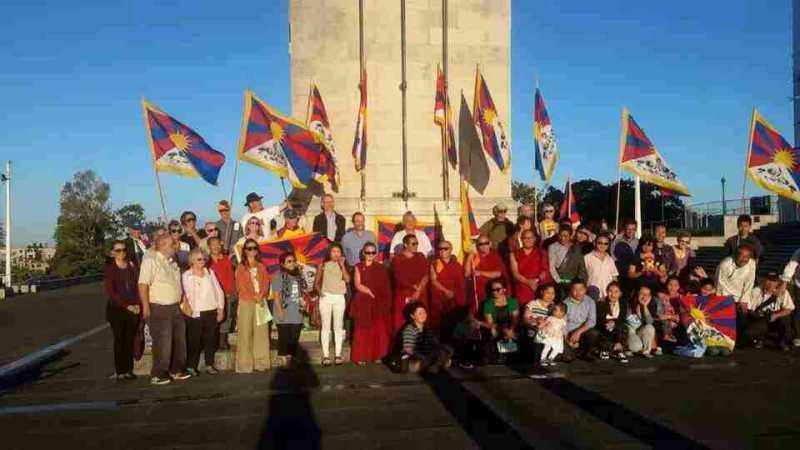 Tibetans in New Zealand gather to mark the 56th anniversary of the Tibetan national uprising day, 10 March 2015.