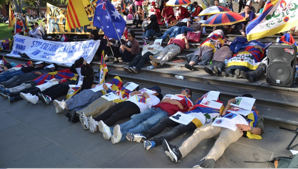 Tibetans at a demonstration during the 56th asnniversary of the Tibetan national Uprising Day in Melbourne, on 10 March 2015.
