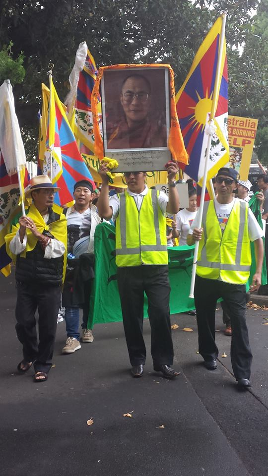 Tibetans in Sydney at a solidarity rally to mark the 56th anniversary of the Tibetan national uprising day, 10 March 2015.