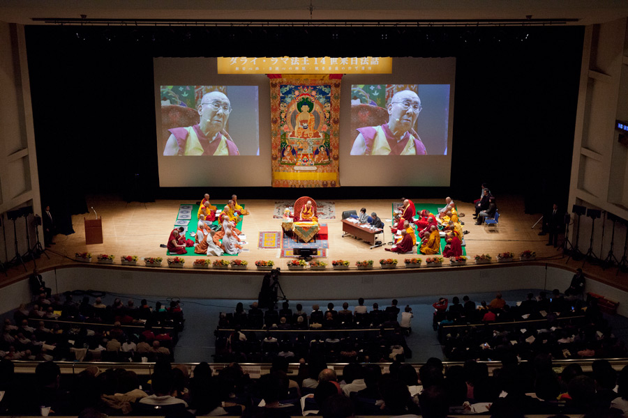 A view of the stage at Showa University Hall, venue for His Holiness the Dalai Lama's teaching in Tokyo, Japan on April 12, 2015. Photo/Tenzin Jigmey