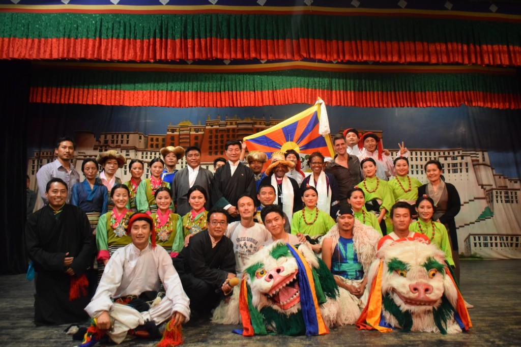 A group photo of the artistes with Archbishop Desmond Tutu and Sikyong Dr. Lobsang Sangay at TIPA on 22 April 2015.