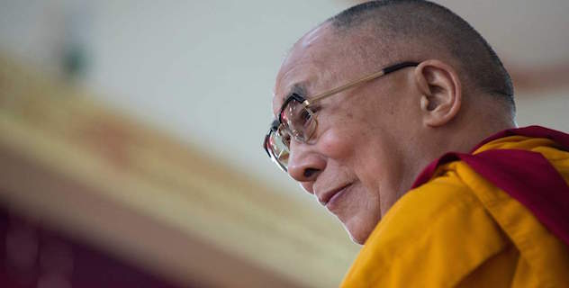 His Holiness the Dalai Lama on the teaching throne during