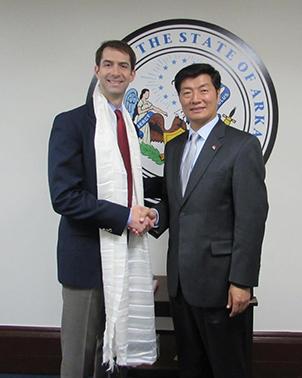 Sikyong Dr. Lobsang Sangay with Mr. Tom Cotton, a US Senator from Arkansas.