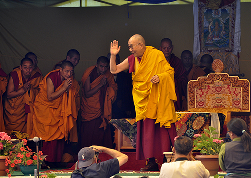 His Holiness the Dalai Lama waving to the students on his arrival at TCV Upper Dharamshala.