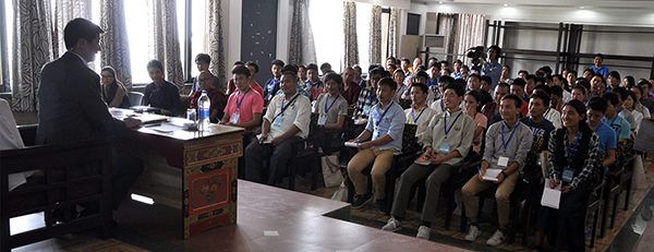 Participants of the leadership training for students lsitening to Sikyong Dr. Lobsang Sangay's talk.
