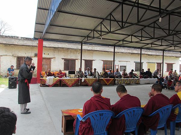 Tibetan Parliamentarian Mr. Karma Yeshi speaking to the public in Pokhara, Nepal.