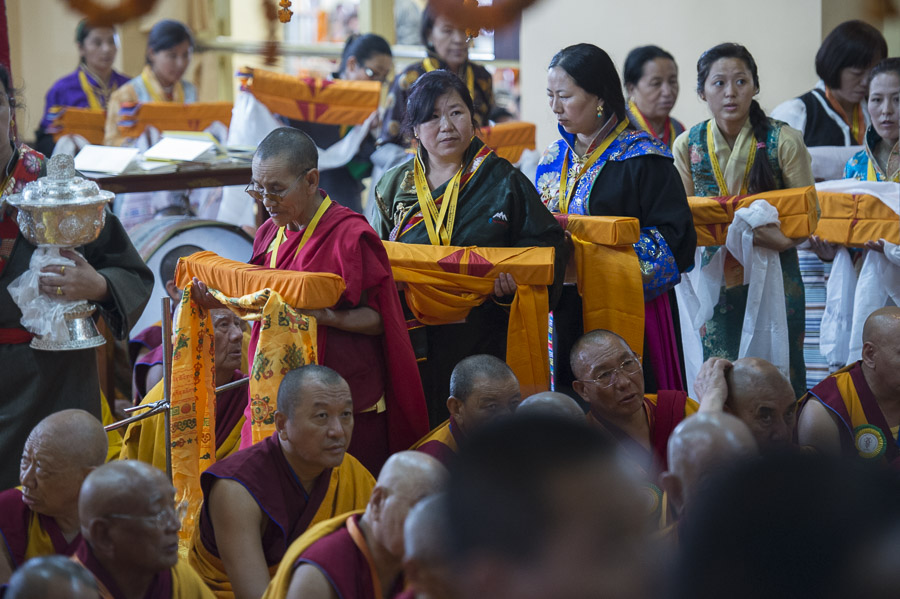 A procession of offerings during the Long Life Offereing ceremony for His Holiness the Dalai Lama at the Main Tibetan Temple in Dharamsala, HP, India on June 21, 2015. Photo/Tenzin Choejor/OHHDL