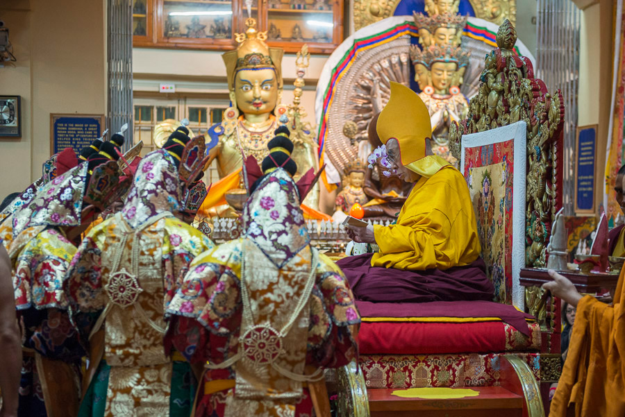 Nechung Oracle making offerings to His Holiness the Dalai Lama during the Long Life Offering ceremony at the Main Tibetan Temple in Dharamsala, HP, India on June 21, 2015. Photo/Tenzin Choejor/OHHDL