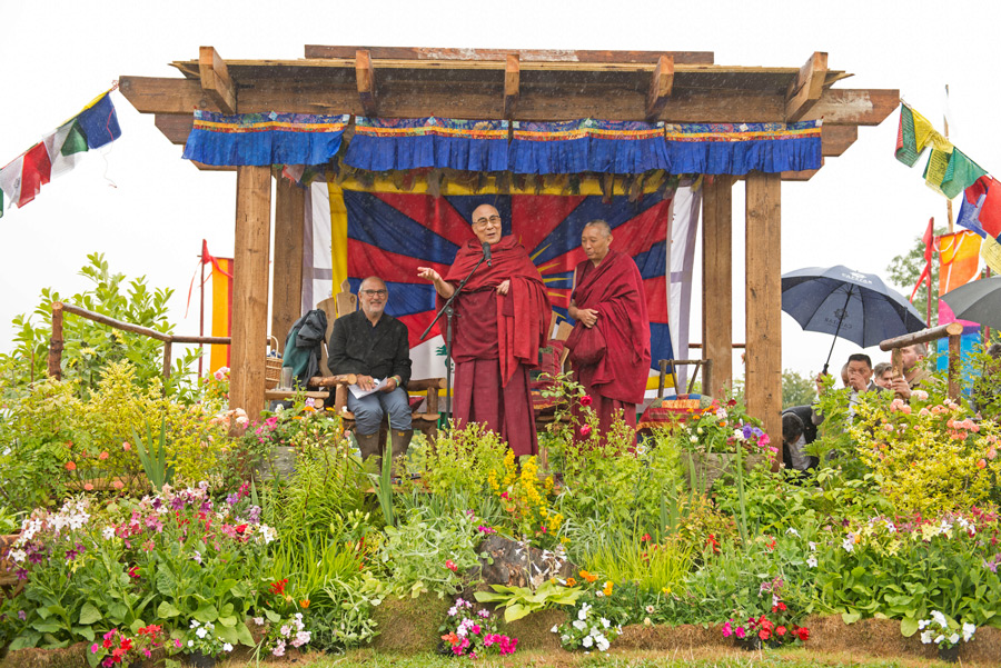 His Holiness the Dalai Lama speaking at King's Meadow at the Glastonbury Festival in Glastonbury, Somerset, UK on June 28, 2015. Photo/Nick Wall