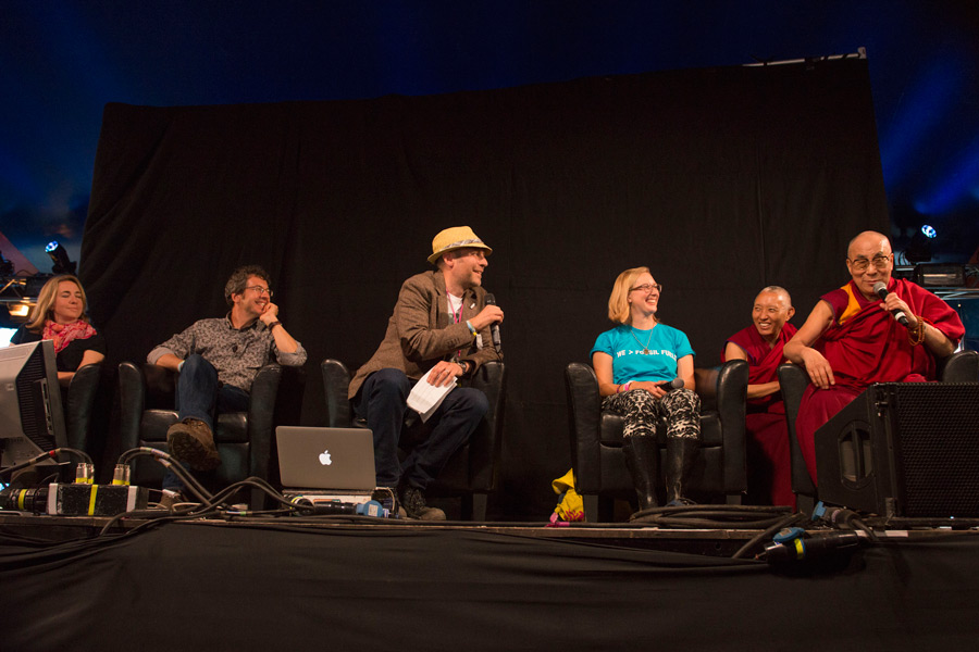 His Holiness the Dalai Lama and fellow panelists during a discussion about who can fix climate change at William's Green at the Glastonbury Festival in Glastonbury, Somerset, UK on June 28, 2015. Photo/Nick Wall