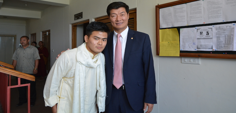 Sikyong Dr. Lobsang Sangay with Tenzin Damdhul, the recipient of the 2015 Sikyong Scholarship.
