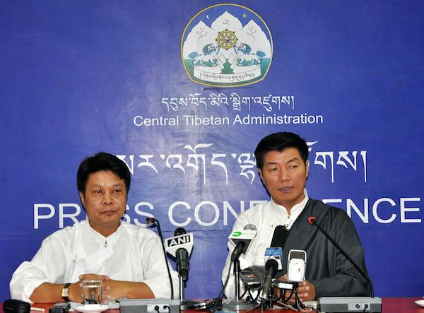 Sikyong Dr. Lobsang Sangay and DIIR Secretary Mr. Tashi Phuntsok at the press conference to launch the video greeting for His Holiness the Dalai Lama's 80th birthday.