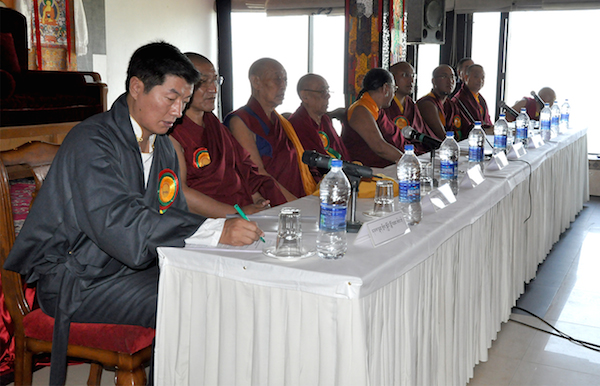 Sikyong Dr. Lobsang Sangay with heads of the four major schools of Tibetan Buddhism and Bon religion at the inaugural session of the conference.