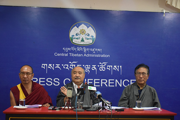 Mr. Sonam Choephel Shosur, the chief election commissioner accompanied by Additional election commissioners Ven. Geshe Tenpa Tashi and Mr. Tenzin Choephel.