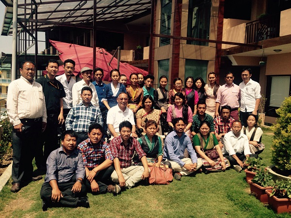 Kalon Ngodup Tsering with the resource person and participants of the workshop.