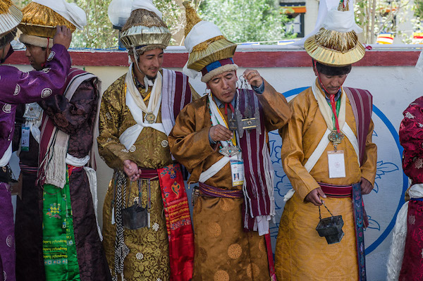 Local people from the Leh Valley dressed in traditional costumes waiting for His Holiness the Dalai Lama to arrive at Spituk Monastery in Leh, Ladakh, J&k, India on July 27, 2015. Photo/Tenzin Choejor/OHHDL