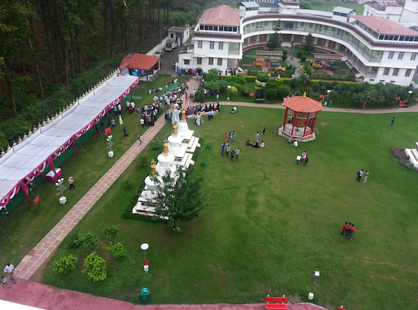 An aerial view of Tibet Museum's exhibition at Mindroling monastery, Clement Town, Dehradun.