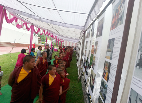 Monks from the monastery at the exhibtion.
