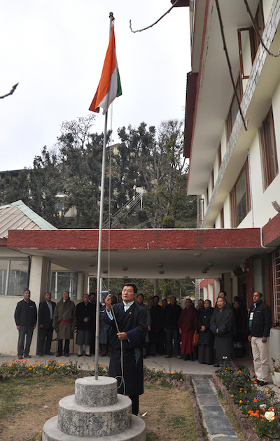 Sikyong Dr Lobsang Sangay hoisting the Indian National Flag at the ceremony to mark India's 67th Republic Day.