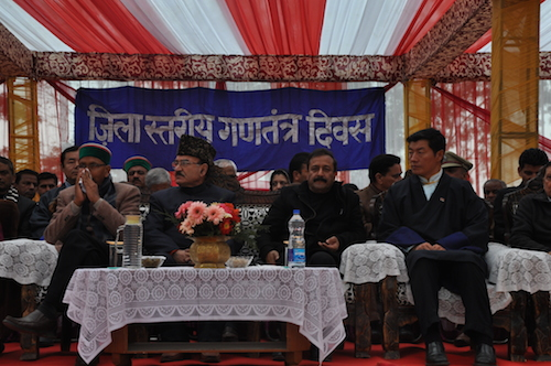 Sikyong Dr Lobsang Sangay and Shri kaul Singh Thakur, health minister of Himachal Pradesh at the official ceremony to mark Republic Day Celebrations at police ground, Lower Dharamshala.