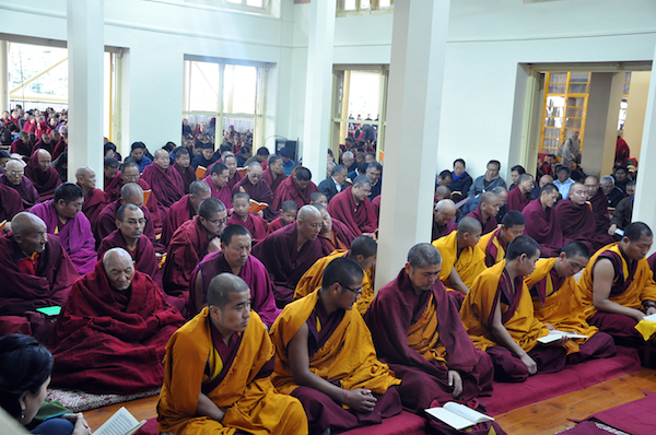 Monks and nuns from monasteries and nunneries around Dharamshala attended the prayer service, 27 January 2016.