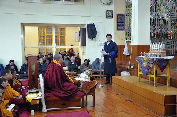 Sikyong Dr Lobsang Sangay addresing the prayer service for His holiness the Dalai Lama's health at Tsuglakhnag, 27 January 2016.