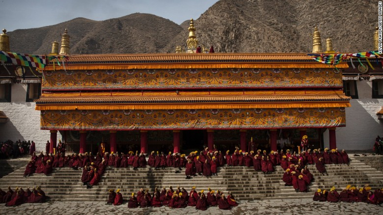 Tibetan Buddhist monks gather at Labrang monastery in a tibetan region of northwest China's Gansu Province to celebrate Monlam or Great prayer rituals on March 5 2015.