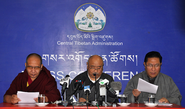 Election Commissioner Mr Sonam Choephel Shosur flanked by the two Additional Election Commissioners Mr Tenzin Choephel and at the press conference, 3 February 2016.