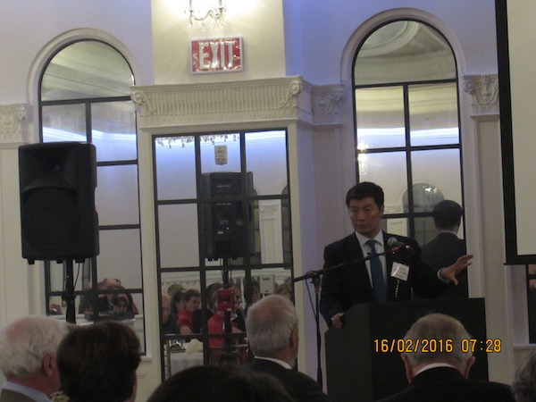 Sikyong speaking toa packed hall of the Foreign Relations Committee at Birmingham on 15 February 2016.
