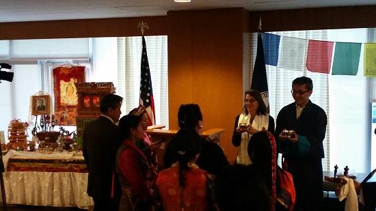 Ms Sarah Sewall, Special Coordinator for Tibetan Issues with Mr Kaydor Aukartsang, Representative of His Holiness the Dalai Lama, celebrating Tibetan new year at the US state department.