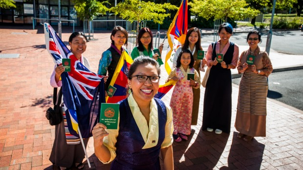 ACT Tibetan Community president Sonam Choedon with members Tsering Deki of Hughes, Tenzin Rigchok of Wright, Tenzin Dagpo of Hughes, Tenzin Norzom of Wanniassa, Esho Metok, 9, of Hughes (not voting), Palmo Tenzin of Kingston and Tsering Dolma of Wanniassa will be voting in the general worldwide election for the Tibetan Government in Exile on Sunday March 20 at Hughes Community Centre. Photo: Elesa Kurtz