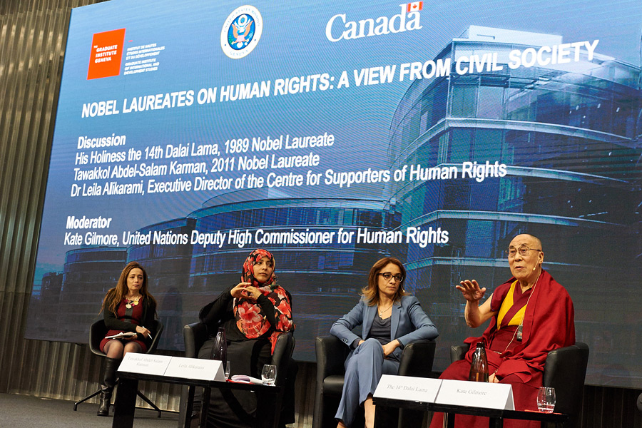 His Holiness the Dalai Lama speaking during the panel discussion on 'Nobel Laureates on Human Rights - A view from civil society' in Geneva, Switzerland on March 11, 2016. Photo/Olivier Adam
