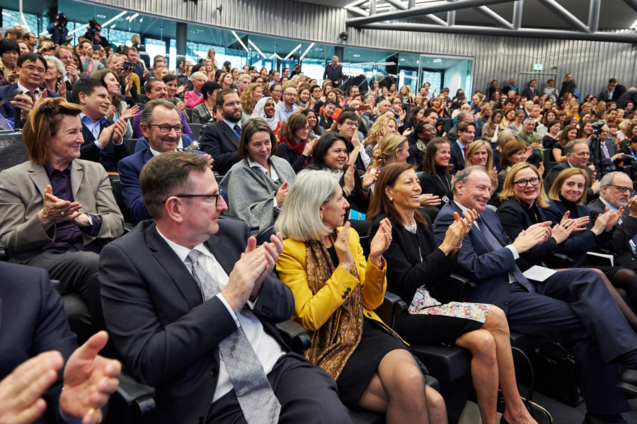 Members of the audience applauding at the conclusion of the panel discussion on 'Nobel Laureates on Human Rights - A view from civil society' in Geneva, Switzerland on March 11, 2016. Photo/Olivier Adam