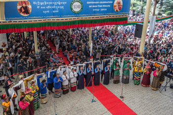 Staff and students of the Men-Tsee-Khang sang a song specially composed for the Centenary Celebrations of the Men-Tsee-Khang in Dharamsala, HP, India on March 23, 2016. Photo/Tenzin Choejor/OHHDL