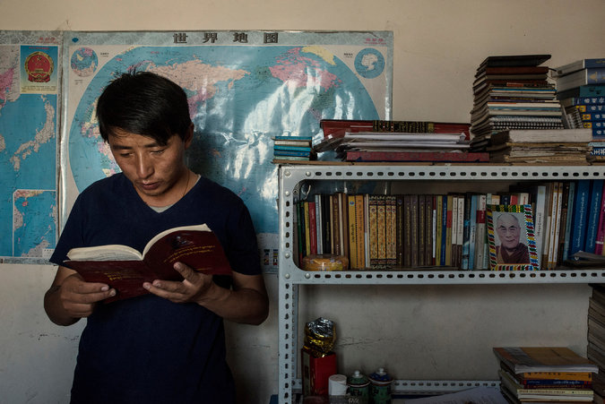 Tashi Wangchuk, a Tibetan entrepreneur and education advocate, at his home in Yushu, China, in July. Mr. Tashi was detained in January and held in secret until his family was notified this month. Credit Gilles Sabrie for The New York Times