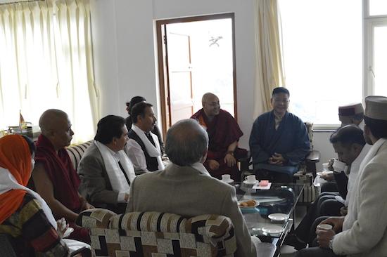 The delegation meeting speaker Penpa Tsering, Deputy Speaker Khenpo Sonam tenphel and Home Kalon Dolma Gyari at the Speaker's official chambers, 26 March 2016.