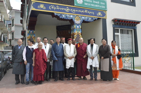 A group photo of the visiting delegation with Speaker Penpa Tsering, Deputy Speaker Khenpo Sonam Tenphel and Home Kalon Dolma Gyari.