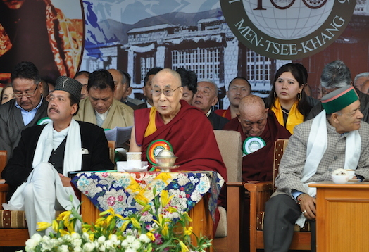 His Holiness the Dalai Lama with the Forest Minister Sri Thakur Singh Bharmouri and the Ayurvedia Minister Sri Karan Singh at Men-Tsee-Khang's centenary celebration at Tsuklakhang, 23 March 2016.