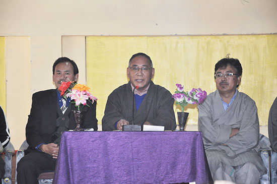 Education Kalon Ngodup Tsering (centre) with Tibetan Parliamentarian Mr Kelsang Gyaltsen and Education Officer Mr Tsering Samdup.