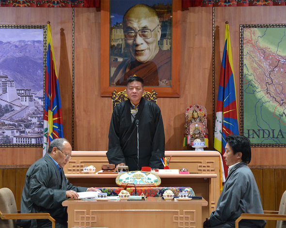The Speaker of the Tibetan Parliament-in-Exile Mr Penpa Tsering delivering inaugural address at the 10th session of the 15th Tibetan Parliament-in-Exile on 21 March 2016.