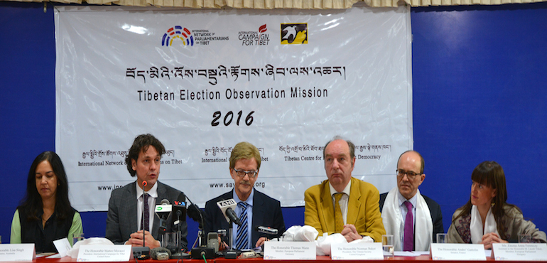 From left: Ms Lisa Singh, Australian Senator, Mr. Matteo Mecacci, Former Italian Parliament Member and President of ICT, Washington, Mr Thomas Mann, Member of European Parliament, Mr Norman Baker, Former MP of UK and Chair of Tibet Society, Mr Andre' Gattolin, French Senator, Ms Zsuzsa Anna Ferenczy, Assistant of M. Laszlo Tokes-Member of the European Parliament/European People's Party, at the pres conference today, 21 March 2016.