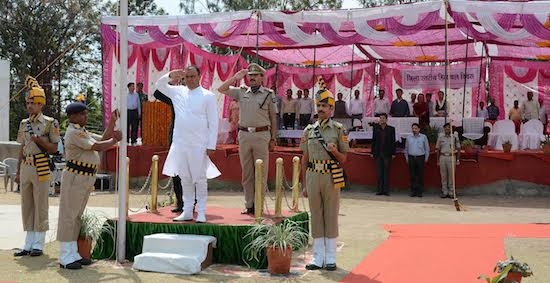 During the flag hoisting ceremony on the 69th Himachal day celebration at Police ground, Dharamshala. 15 April 2016.