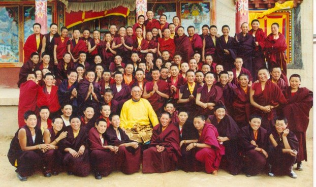 Buruna Rinpoche sits surrounded by some of his followers in an undated photo (RFA).