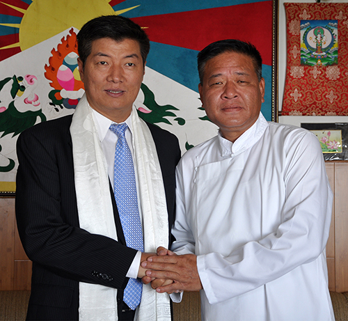 Speaker Penpa Tsering greeting Dr Lobsang Sangay on his victory, 28 April 2016.