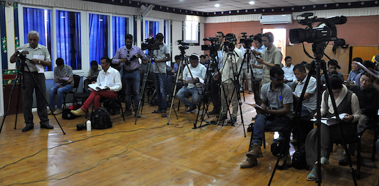 Media persons at the press conference.