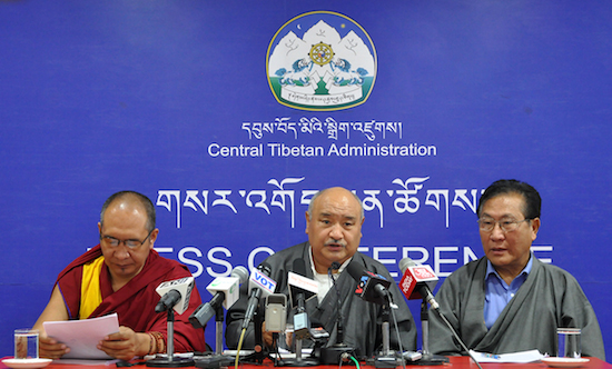 Mr Sonam Choephel Shosur, Chief Election Commissioner accompanied by Ven Tempa Tashi (left) and Mr Tenzin Choephel (right) at the press conference.