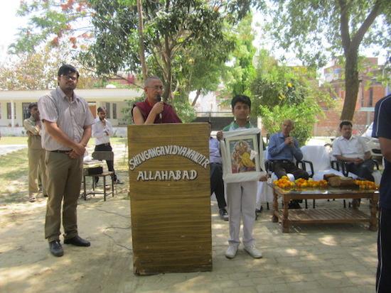 Dr. Ramesh Chandra Negi of Central University of Tibetan Studies, Sarnath addressing the rally.
