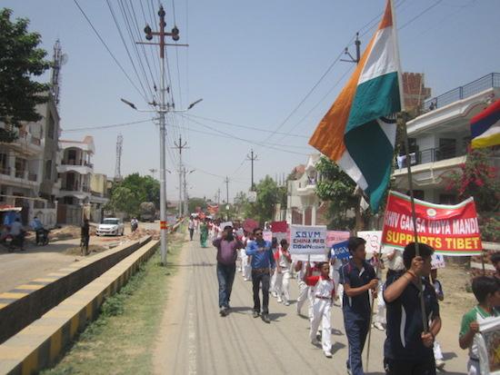 The solidarity rally for Tibet in progress.