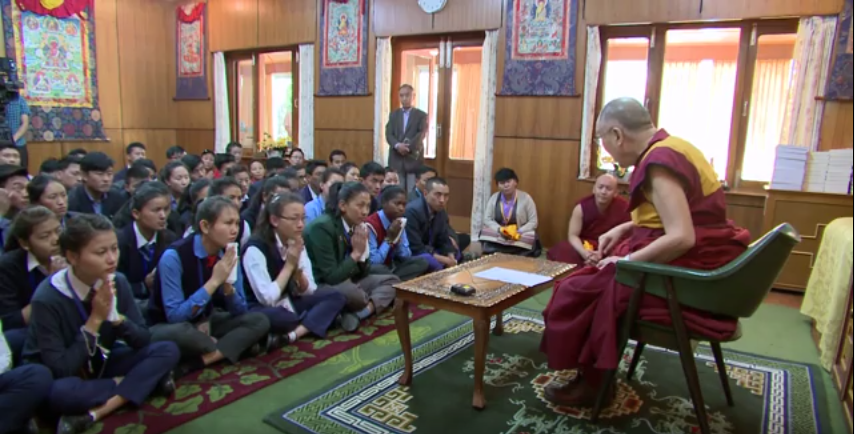 His Holiness the Dalai Lama speaking to a group of Tibetan students on 16 April 2016.