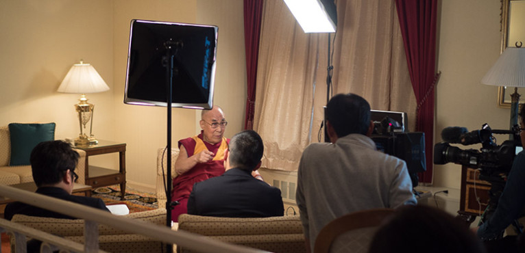 His Holiness Arrives in Osaka City, Gives interview to NHK TV